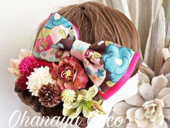 大正ロマン アンティーク風和柄リボンとお花の髪飾り9点Set No623の画像