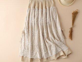 初秋 綿麻 レース  スカートの画像