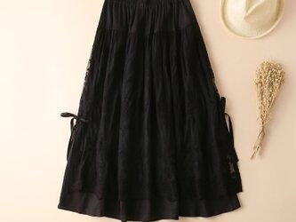 初秋 綿麻 レース  スカート ブラックの画像