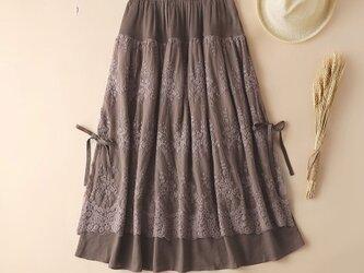 秋 綿麻製  レース  スカート   コーヒー色の画像