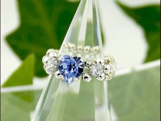Sapphire Blue Heart【スワロフスキー♡〈ライトサファイヤ〉とジルコニア ビーズリング】の画像