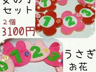 【送料込】ボタンと数字の練習☆女の子セット☆知育おもちゃの画像