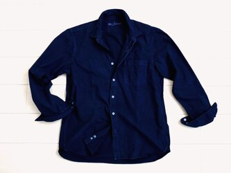 ◆100%自然素材 天然灰汁発酵建て 本藍染◆ オーガニックコットン100% ブロード長袖シャツ(メンズ)の画像