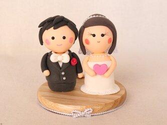 【お買い得!】【イニシャル入ります♪】ちっちゃな夫婦(洋装)の画像