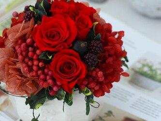 beau cadeau (ボゥ キャドゥ) プリザーブドフラワー レッド 退職祝い・誕生日・還暦祝いの画像