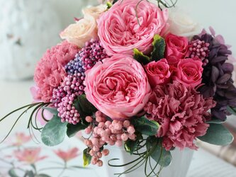 cherie(シェリー) プリザーブドフラワー ピンク 結婚祝い・誕生日・新築祝いの画像