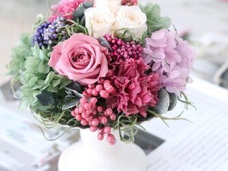 myrte reine (ミルトレーヌ) ブリザーブドフラワー ピンク 結婚祝い・誕生日・退職祝いの画像