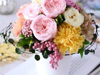 le printemps(ル プランタン) プリザーブドフラワー ピンク/イエロー 結婚祝い・新築祝い・誕生日の画像