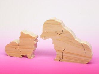 送料無料 ヒノキの組み木 ポメラニアンとラブラドールレトリバーの画像