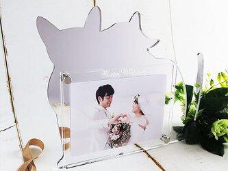 猫シルエット ミラーシルバー フォトフレーム ウェディング メッセージ変更可 ラッピング無料の画像