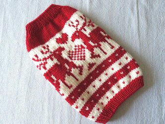 トナカイのセーターМ「赤」犬のセーターの画像