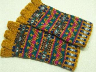 手紡ぎ毛糸の指なし手袋【キャメル系オータムカラー】の画像