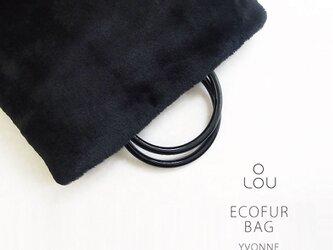 上質なファーを使った リングハンドルバッグ ブラック 黒 ●YVONNE●の画像