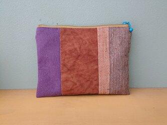 柿渋染め11号帆布·紫色帆布·手織りのパッチワークポーチの画像