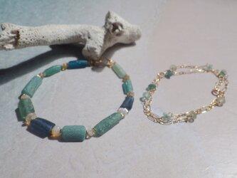 ☆再販☆4WAY! 海色ローマングラス Ocean Romanglass Bracelet&Necklace *14kgf*の画像