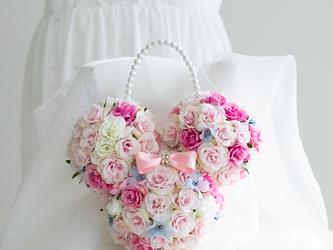 【送料込み・ブートニア付き】アーティフィシャルフラワーのウェディングブーケ アニマルブーケ バックブーケ  造花の画像