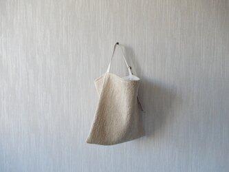 裂き織りのぽってりツーウェイバッグ  ミルクベージュの画像