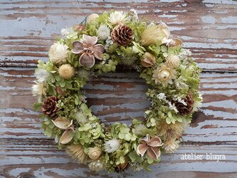 atelier blugra八ヶ岳〜アナベルと小花のWreathの画像