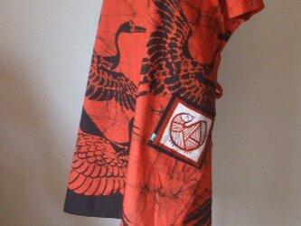 3羽の鶴がめでたいチュニック 木綿の画像