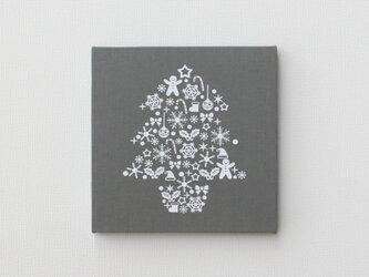 クリスマスツリーのファブリックパネル M-501◆グレー/白の画像