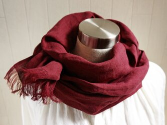 やわらかリネンのストール 赤紫の画像