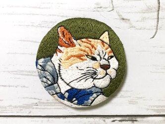 手刺繍浮世絵ブローチ*歌川国芳「猫のすゞみ」よりの画像