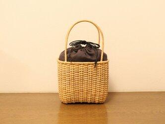 皮籐のかごバッグ(内袋/チャコールグレー)の画像