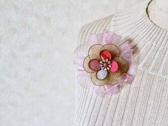 リボン付き和布ブローチ(結城紬&ワイヤー)の画像