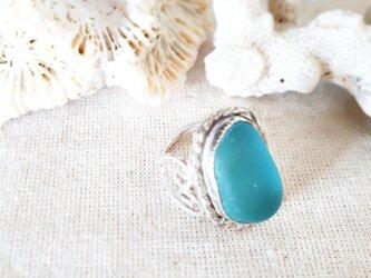 【11号】silver925 seaglass ring ~side heart~の画像