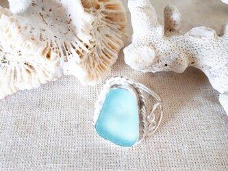 【14号】silver925 seaglass ring ~side heart~の画像