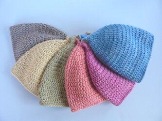 草木染毛糸のどんぐり帽子3~5才用の画像