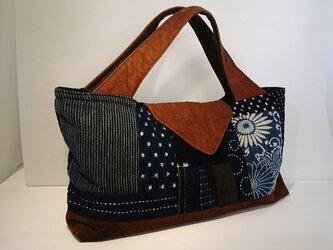 絣と渋柿染めのバッグの画像