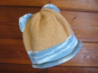 草木染毛糸のネコ耳帽子1~3才用 CH-150の画像