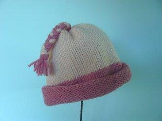 草木染毛糸の三つ編み帽子1~3才用 CH-137の画像
