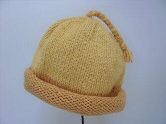 草木染毛糸の三つ編み帽子1~3才用 CH-139の画像