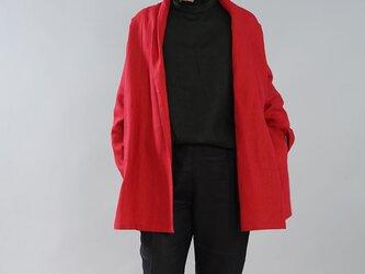 【wafu】中厚 リネン 羽織 トッパーカーディガン ドルマン ポンチョ ローブ / レッド h014a-red2の画像