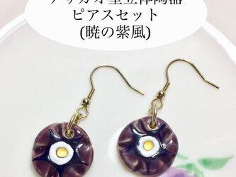 [送料無料]アサガオ型立体陶器ピアスセット (暁の紫風)の画像