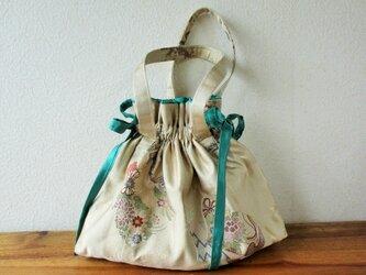 帯バッグ 巾着 御所の花ー緑の画像