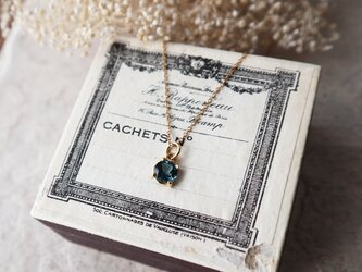 【14kgf】宝石質ロンドンブルートパーズの一粒ネックレス*11月誕生石の画像