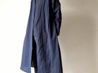 シンプル無地の羽織りロングコート*ダブルガーゼ*コットン100%*ダークネイビーの画像