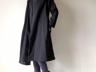 シンプル無地の羽織りロングコート*ダブルガーゼ*コットン100%*ブラックの画像