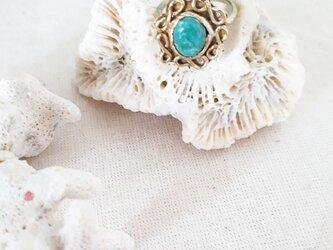 【10号】brass tibetan turquoise ringの画像