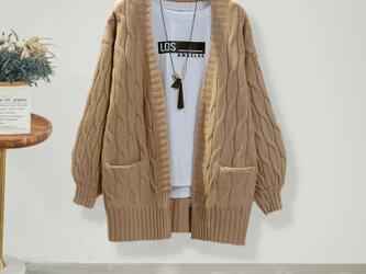 冬 カーキ 手編み 高品質 レディース ニット ニットトップス ニットカーディガン ファッションの画像