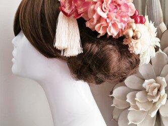 大人可愛い アンティーク風くすみピンクの髪飾り9点Set No627の画像