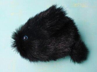 ミニうさぎポーチ(青い目・黒)001の画像