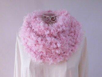 ふわふわスヌード・寒牡丹咲く・2種類のファー毛糸・メリノウール・アルパカの画像