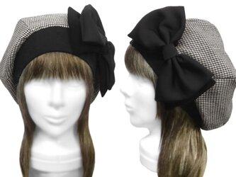 リボン飾り/リブ付ベレー帽(ゆったり)◆千鳥格子コットンフランネル/グレー系の画像