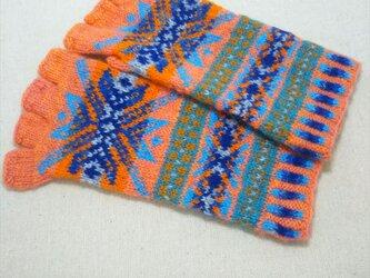 手紡ぎ毛糸の指なし手袋【オレンジと青】の画像