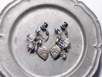 「Y様専用」アフガニスタンハートモチーフとハーキマーダイヤモンド、グーズベリー、ガーネットのイヤリングの画像