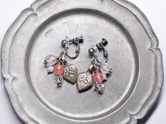 「Y様専用」アフガニスタンハートモチーフとハーキマーダイヤモンド、グーズベリー、チェリークォーツのイヤリングの画像